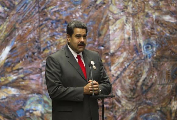 Maduro interviene tras recibir la Orden Nacional José Martí. Foto: Ismael Francisco/ Cubadebate