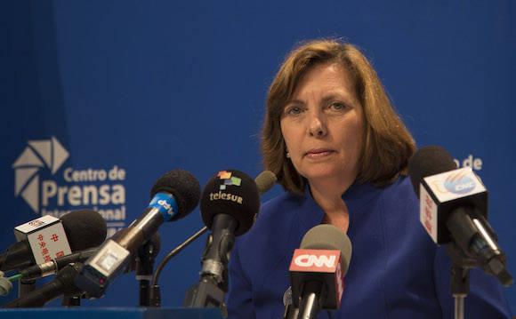 Conferencia de prensa de Josefina Vidal, directora general de EEUU de la Cancillería cubana, tras la tercera ronda de la Comisión Bilateral Cuba-EEUU.