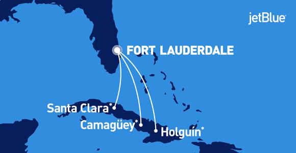 Cuando todavía el gobierno de los EE.UU. no ha autorizado los vuelos a La Habana, la aerolínea JetBlue anuncia viajes diarios desde la Florida a Villa Clara, Camagüey y Holguín. Imagen: JetBlue.