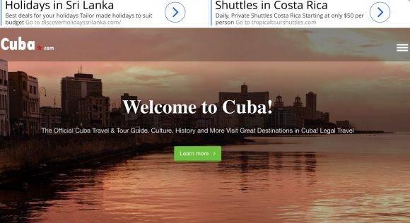 El dominio Cuba.com fue creado el 20 de febrero de 1995, está registrada en EEUU y actualmente promociona viajes a Cuba.
