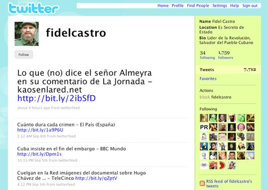Twitter de Fidel Castro
