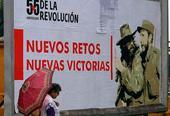 Cartel alegórico a los 55 años de la llegada al poder de Fidel Castro en Cuba