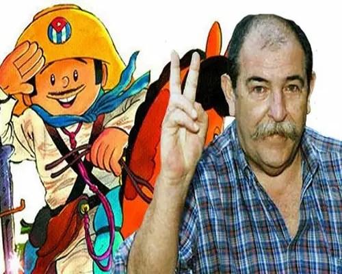 El creador, Juan Padrón, junto al personaje Elpidio Valdés_archivo