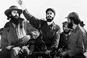 Fidel Castro junto a Camilo Cienfuegos y Hubert Matos, entrando a La Habana en 1959 (foto tomada de Internet)