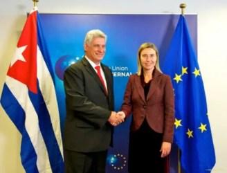 Miguel Díaz-Canel, Primer Vicepresidente cubano y Federica Mogherini, alta representante de la Unión Europea para Asuntos Exteriores y Política de Seguridad (foto tomada de Internet)