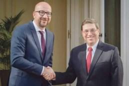 El Primer Ministro belga, Charles Michel, y el canciller cubano, Bruno Rodríguez (foto tomada de Bélgica ocupa el sexto lugar entre los principales socios comerciales de www.correodelsur.com)