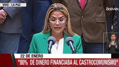 Jeanine Áñez: régimen se quedaba con 80% de pagos a médicos cubanos en Bolivia