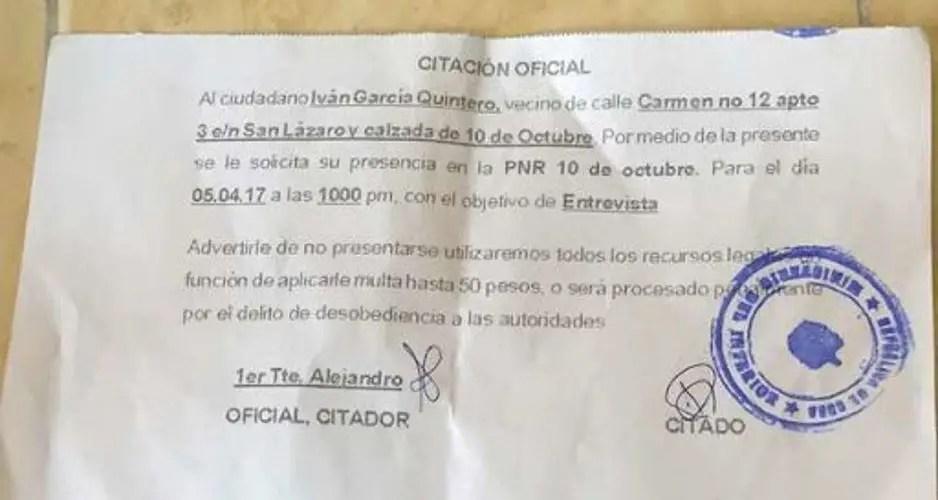 Citación, Cuba, MININT, Seguridad del Estado