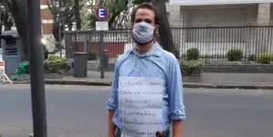 Con su violín exige frente a sede de Cuba en Argentina libertad para Denis Solís