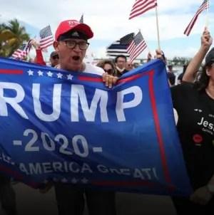 Latinos en Miami se manifiestan en apoyo a Donald Trump