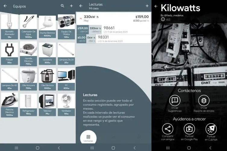 Interfaz de Kilowatts