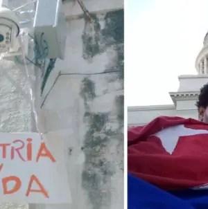 """Luis Manuel Otero cuelga un cartel de """"Patria y vida"""" en la cámara que lo vigila"""
