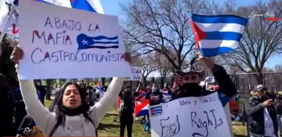 Cientos de cubanos se unen al canto de Patria y Vida en Washington D.C.