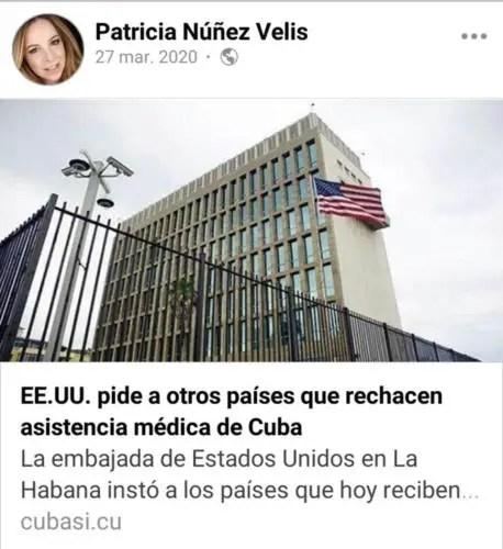 Patricia Núñez posteando en su muro de Facebook una noticia del portal oficialista CubaSí (Captura de pantalla)