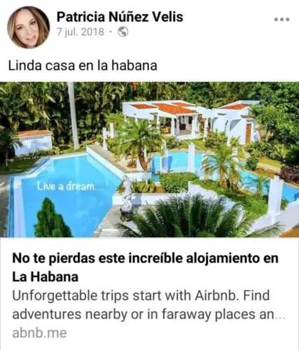 Patricia N├║├▒ez promocionando la casa que su hermana Lupe alquila en La Habana por Airbnb