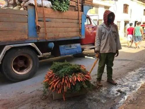 Descarga de viandas para un agro de oferta y demanda. Foto del autor