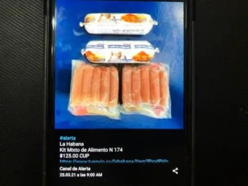"""Picadillo y perritos, únicas """"proteínas"""" disponibles en la plataforma TuEnvío. Foto del autor"""