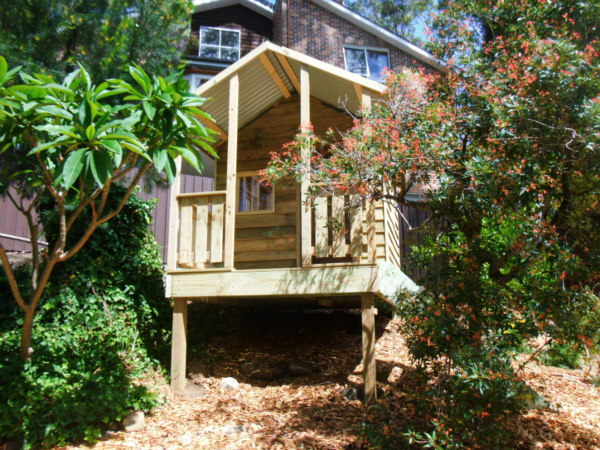 cubby house 2.8m x 1.8m with deck, x2 perspex windows, ply door, x1 side rail, 40cm elevation $2235 installed
