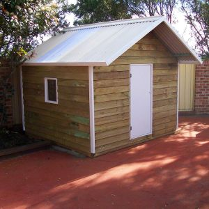 extra large cubby house, x1 perspex window, ply door, white trim $1485 with accessories