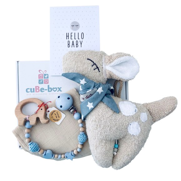 cuBe-box Babygeschenke babybox nuscheli beige nuggiketti