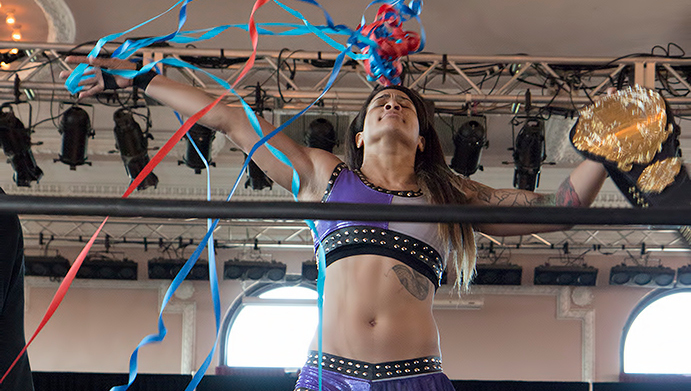 Nicole Savoy, first and current Heart of SHIMMER Champion. Photo courtesy Kristine Roper.