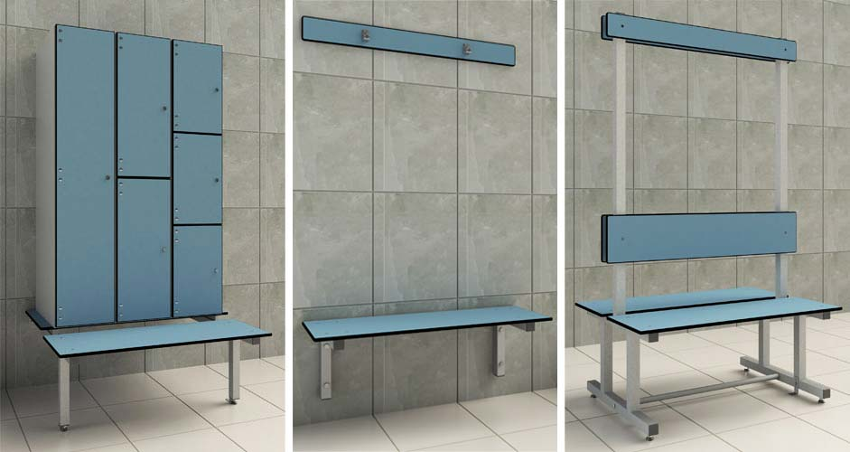 Changing Room Benches Render Cubicle Systems
