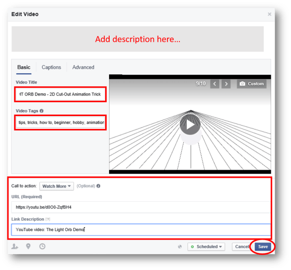 Facebook - Edit Video With Details