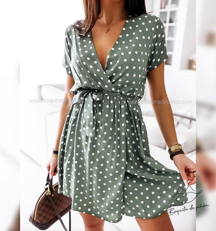 Vestido Corto de Lunares - vestidos elegantes cortos para fiestas