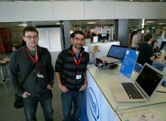 The folks from the famous Cyanogen mod checking out Rover at Mobile World Congress.