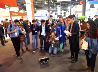 Rover at Mobile World Congress gets interviews and attracts crowds of people.