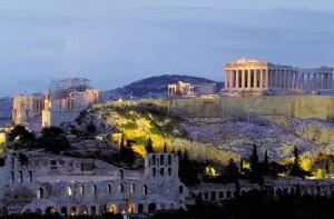 Acropoli, veduta con illuminazione
