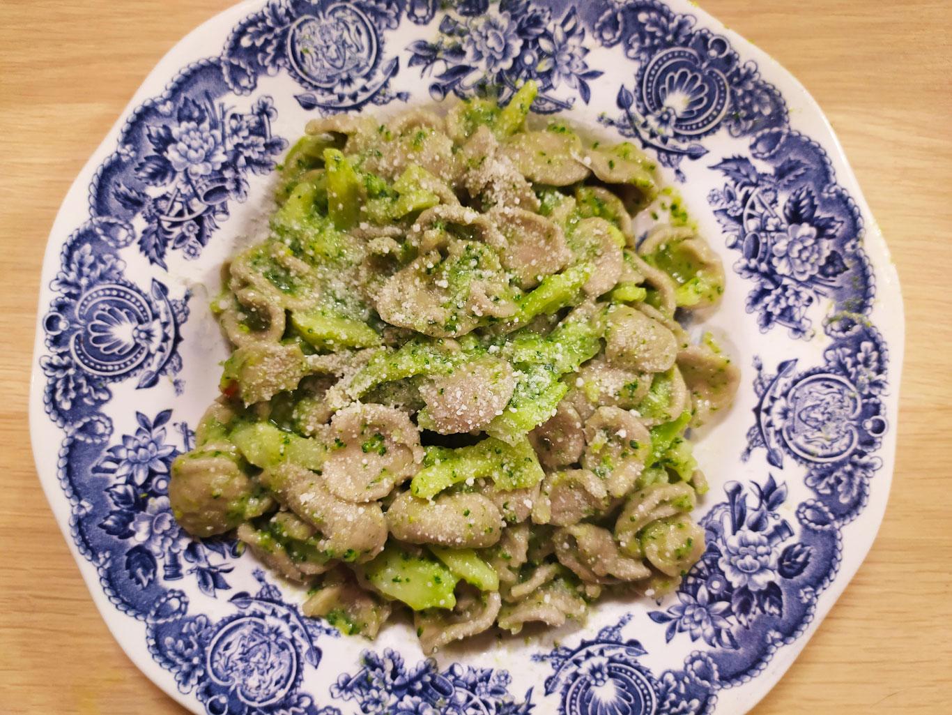 Orecchiette with Broccoli and Pecorino Cheese Cream Sauce