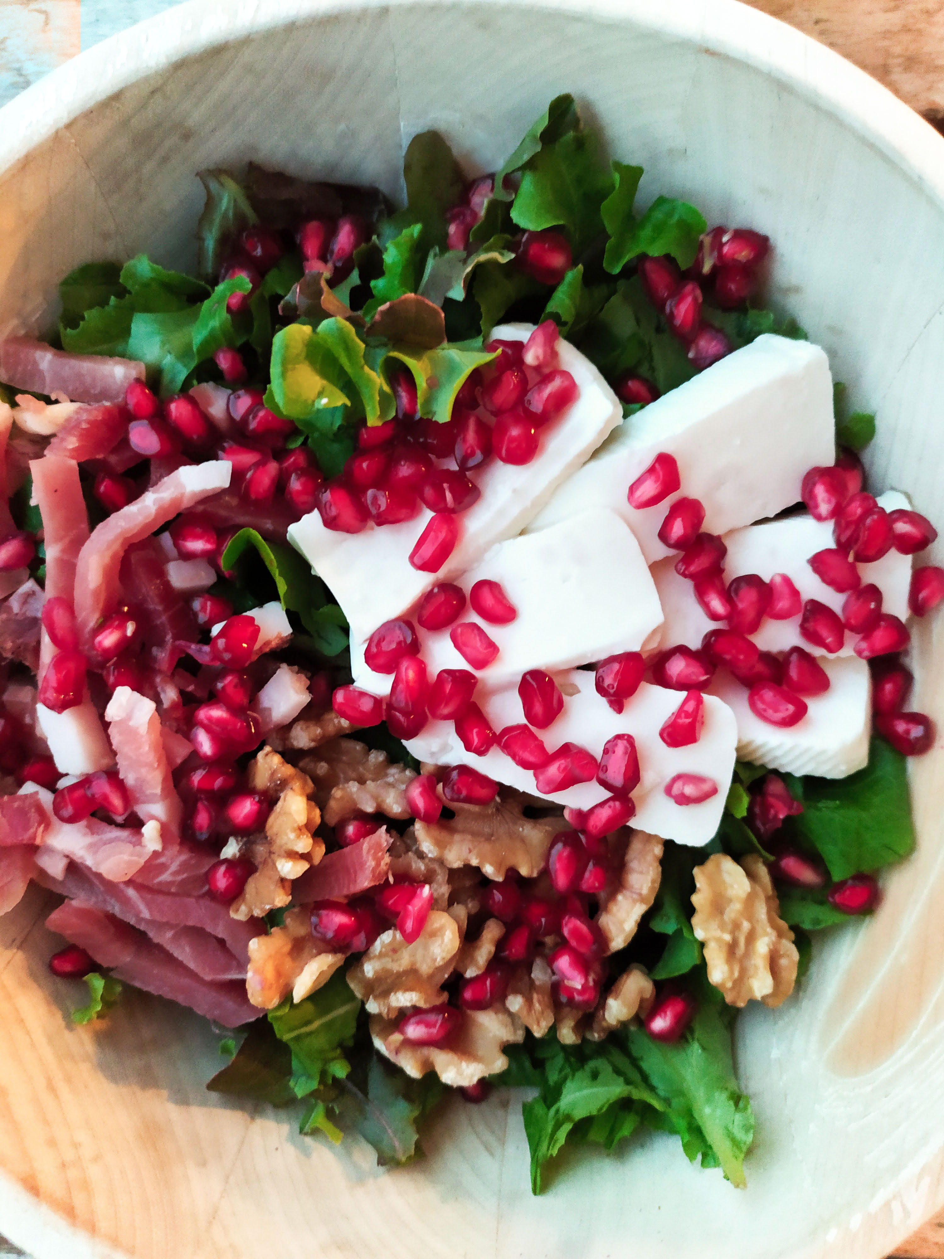 pomegranate speck cheese salad vertical