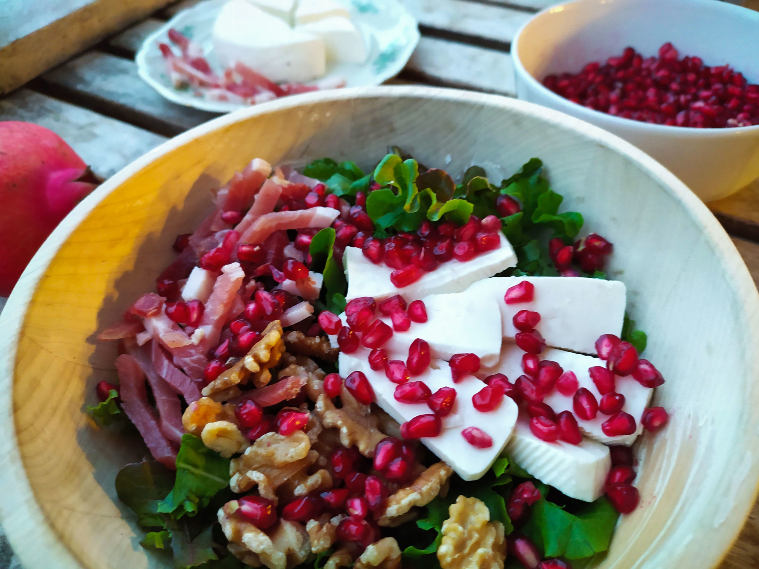 pomegranate speck and cheese salad