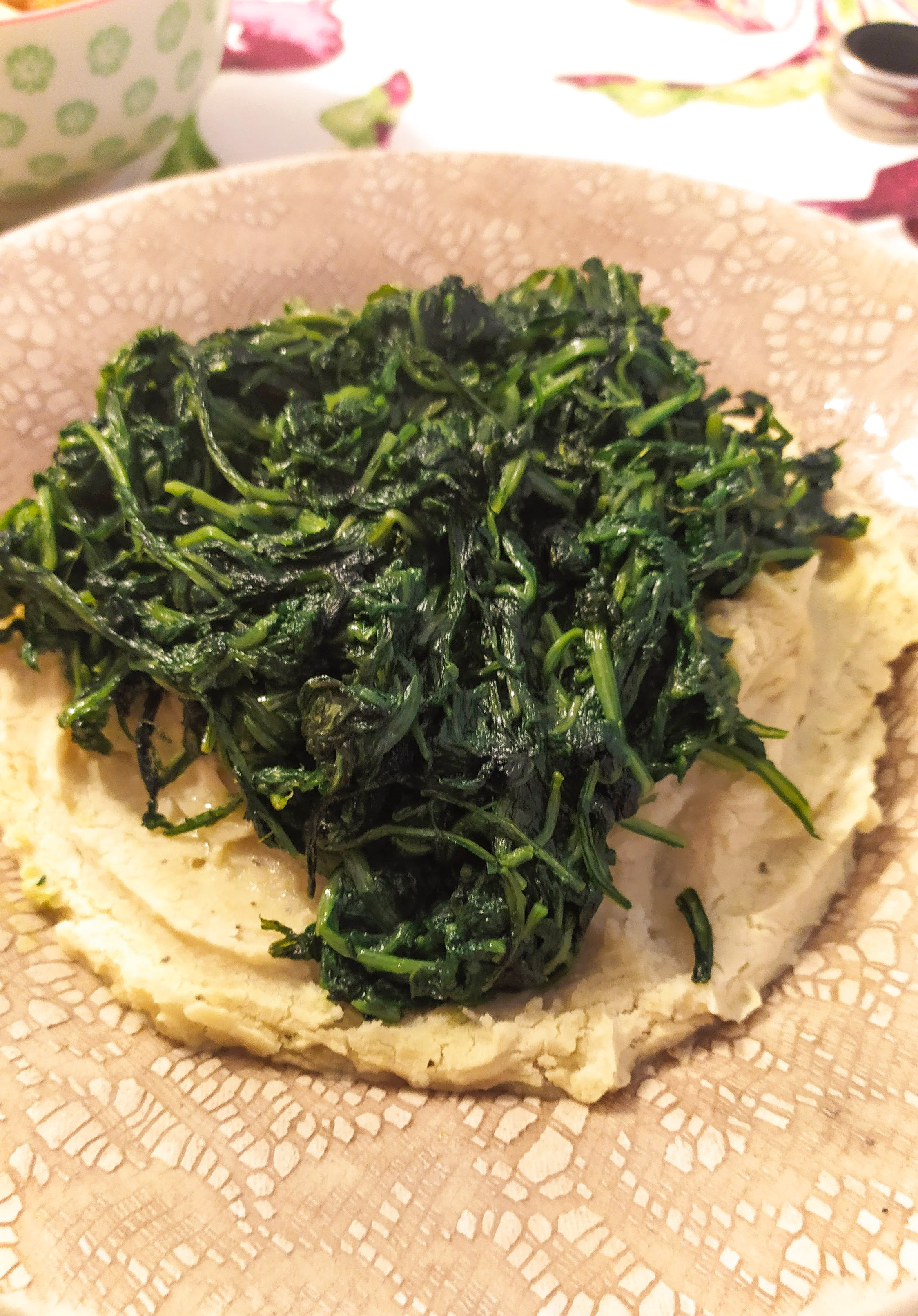 mashed fava beans with wild chicory