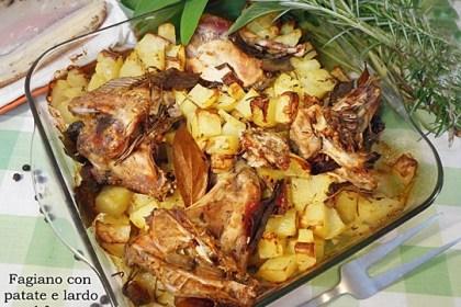 Fagiano con patate e lardo al forno