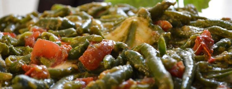 Fagiolini pesto pomodorini e scamorza