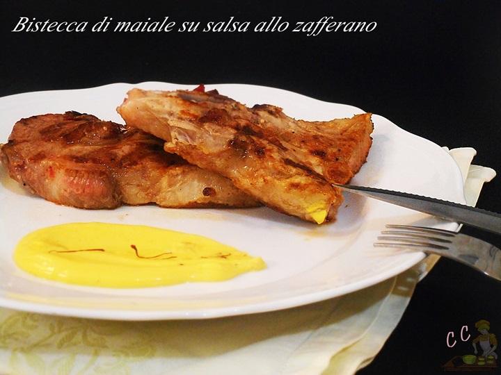 Bistecca di maiale con salsa allo zafferano