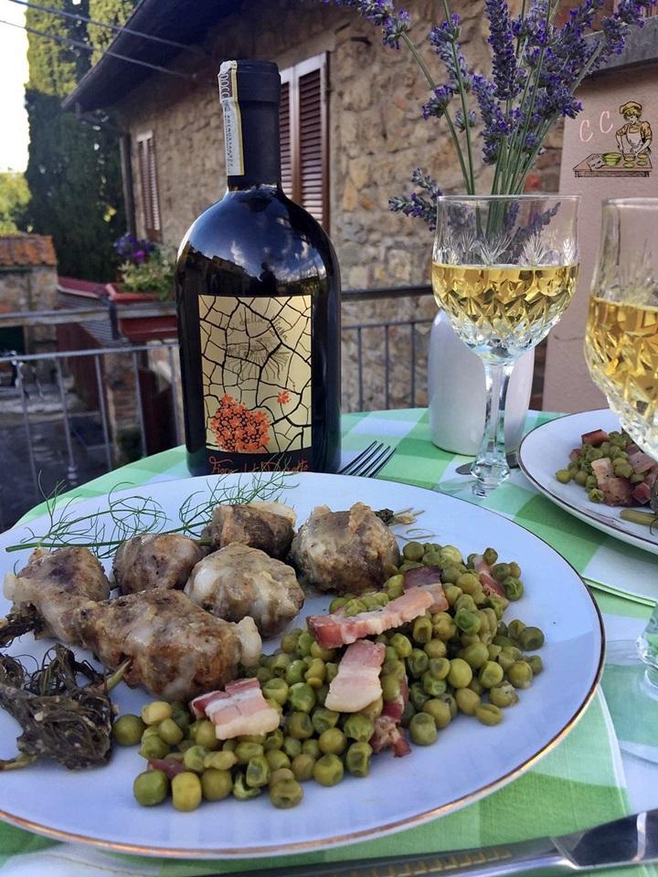 fegatelli toscani e piselli al vino