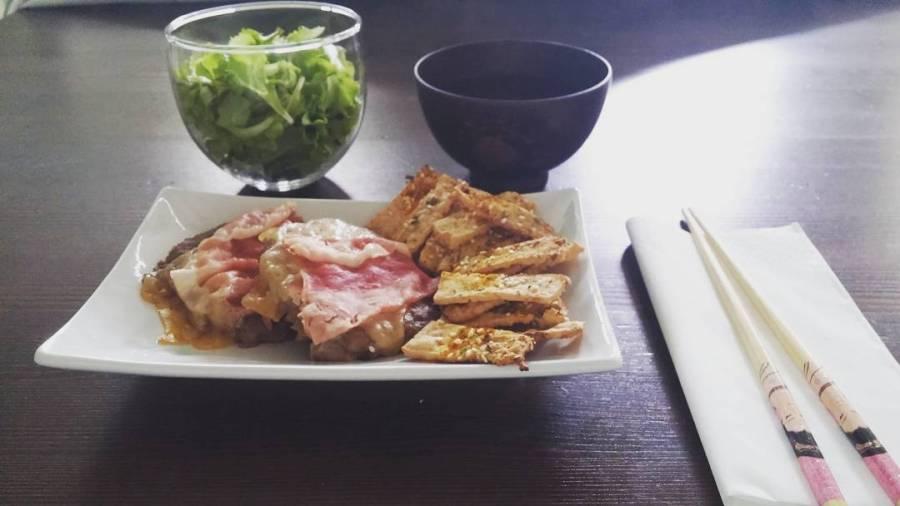 #lunch #tofu #chips #insalata #hamburger #cotto #emmental #the #japan #dukan #dukanitalia #quartafase #chef #cheflife #videoricette #canaleyoutube #cucinadulight
