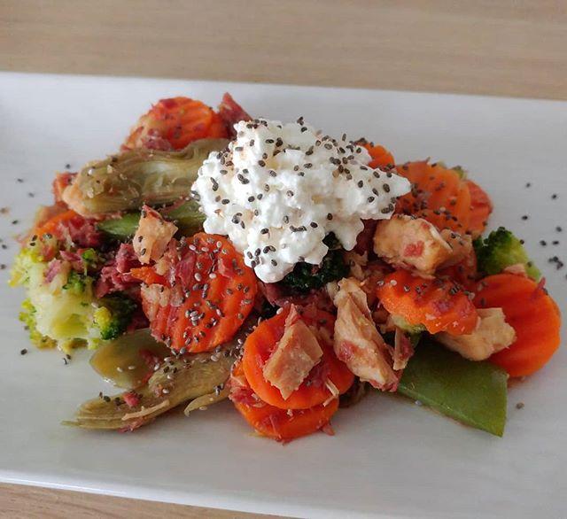 Pranzetto molto veloce e appetitoso: verdurine, fiocchi di latte, simmenthal di pollo. Con una manciata di semi di chia!😍 #verdure #fiocchidilatte #semidichia #simmenthal #pollo #lunch #fast & #easy #dukan #diet #dieta #dukanitalia #quartafase #benessere #light #lightfood #fitness #fitfood #protein #foodblogger #cibosano #weightloss #wayoflife #bodyrevolution #chef #cheflife #cucinaproteica #cucinadulight