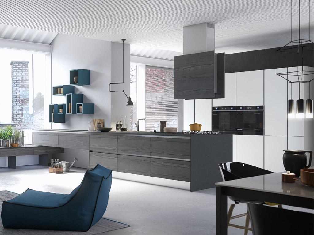 Se la metratura lo consente, la cucina ad isola, con piano lavoro rivolto verso il soggiorno, è la soluzione più indicata per l'open. Wonderwall Cucine Open Space