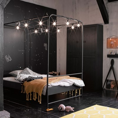 Black Metal Small Double Four Poster Bed Woood Cuckooland