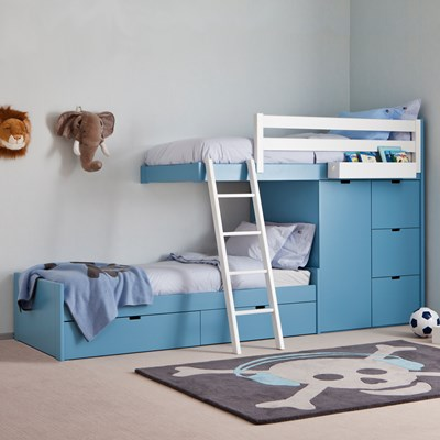 Kids 3 Tier Train Bed With Wardrobe Storage Asoral Cuckooland