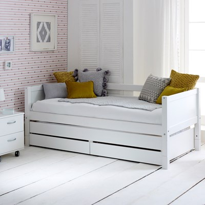 flexa nordic kids day bed with trundle bed drawers in white