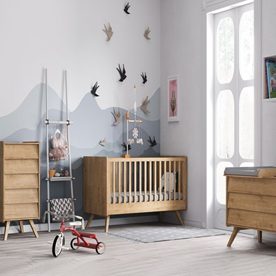 vox vintage 3 cot bed nursery set in a choice of oak on 3 Piece Nursery Set id=97222