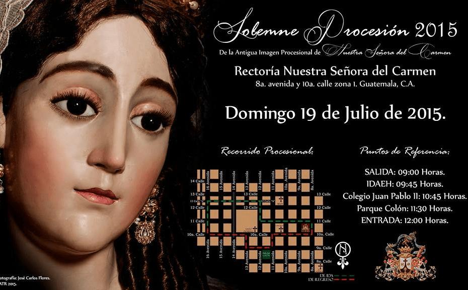 Recorrido procesional en el Afiche oficial de la Rectoria Nuestra Señora del Carmen