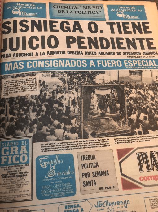 La publicación de diario el Gráfico que fue el único que dio alguna cobertura, Prensa libre no consignó nada en sus páginas.