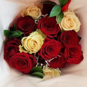 Dozen white & red roses