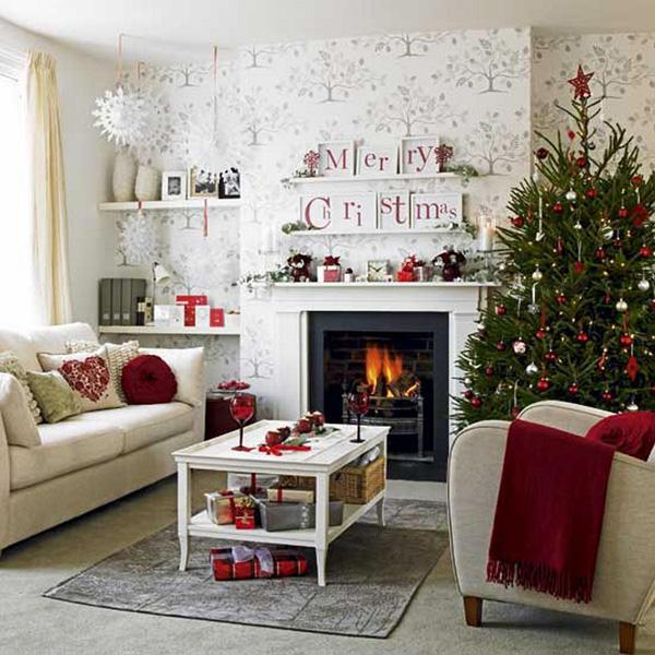 "Even if you live in the city, you can still have a living room that says ""Merry Christmas!""."